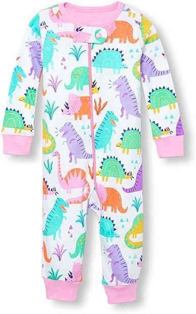 Carters 4T Girls Microfleece One Piece Pajama Long Sleeve Pastel Animal Print