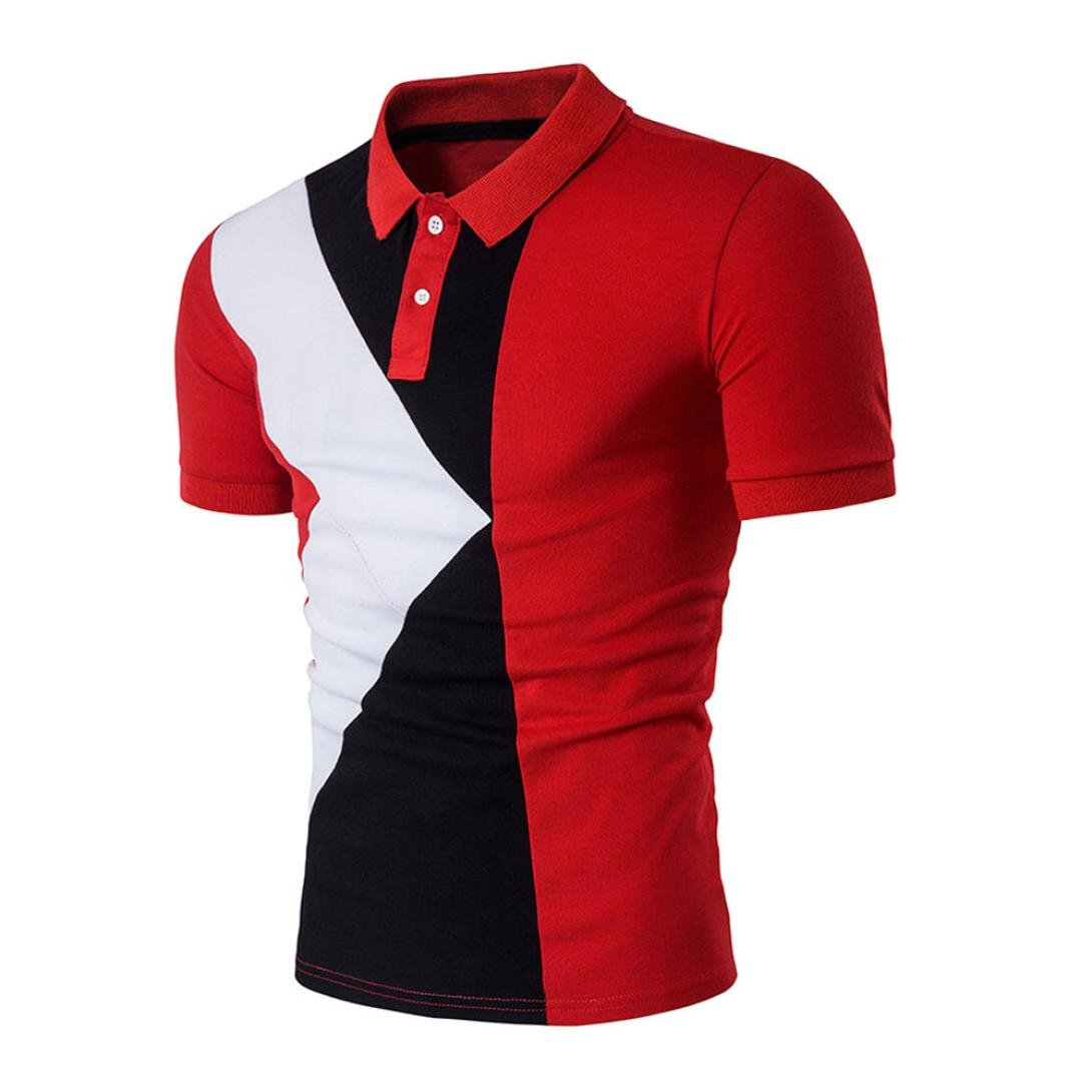 Charberry Mens Fashion Lapel Short-Sleeved T-Shirt New Hot Mens Slim Sports Short Sleeve Casual Polo Shirt T-Shirts Tee Tops (US-S/CN-M, Red)