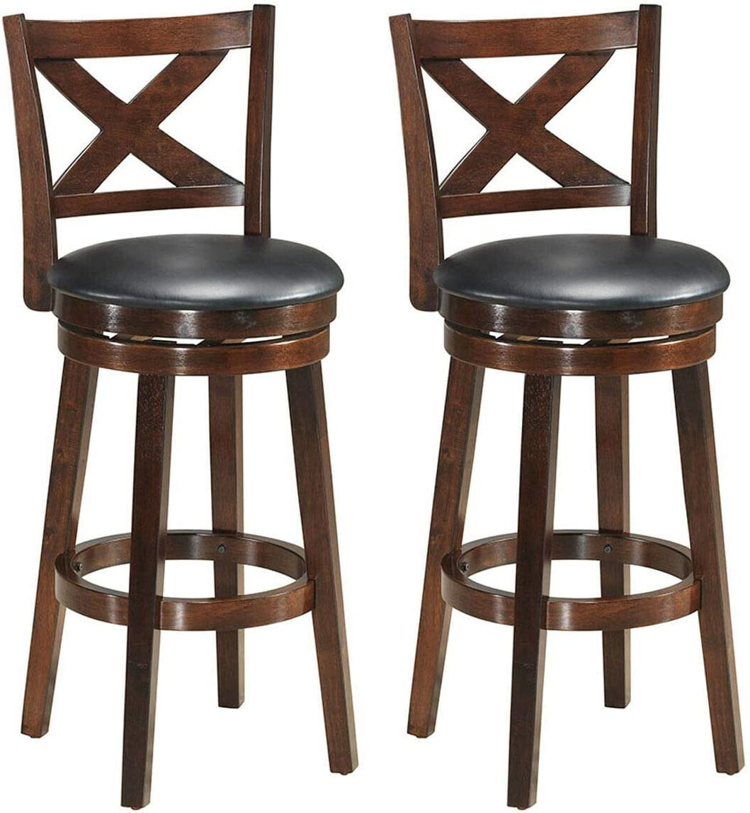 COSTWAY Bar Stools Set of 2, Counter Height Dining Chair, Fabric Upholstered 360 Degree Swivel, PVC Cushioned Seat, Perfect for Dining and Living Room Height23.5-Set of 2