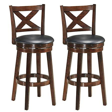 COSTWAY Dining Chairs, Modern Vintage Accent Wooden Swivel Back Bar Counter Height Dining Chair, Fabric Upholstered 360 Degree Swivel, Perfect for Dining and Living Room Set of 2 2 x Height 29