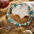 Starain Blue Turtle Anklets for Women Girls Multilayer Beads Handmade Beach Ankle Bracelet Set Boho Foot Jewelry