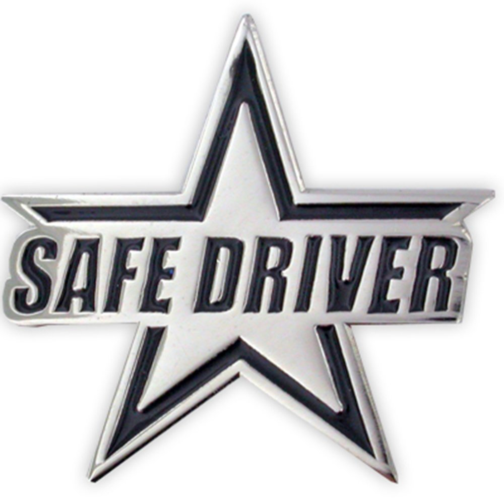 PinMart's Silver Plated Safe Driver Star Award Enamel Lapel Pin