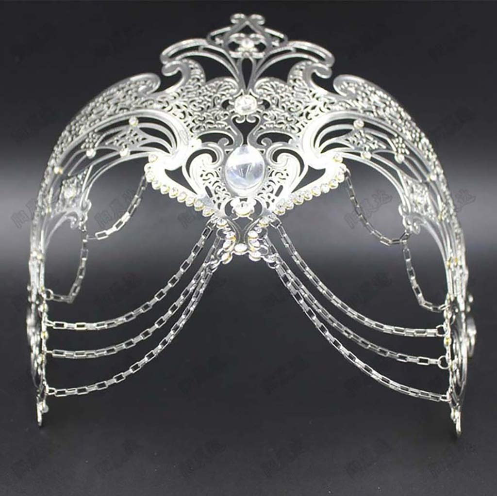 A 3pcs FYPmj Masquerade mask Highend masquerade mask, party photography props, female sexy iron chain diamond mask (color   B, Size   4pcs)