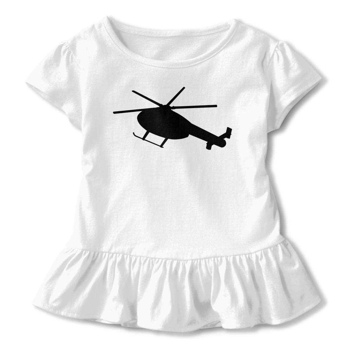 2-Pack Cotton Tee Helicopter Silhouette Baby Girls Short Sleeve Ruffles T-Shirt Tops
