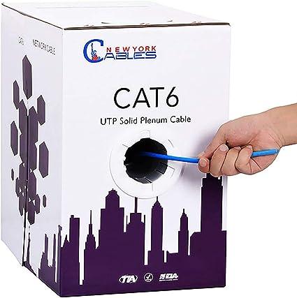 Plenum Copper CMP UTP 4-Pairs Cat5e 350Mhz Cat6 550Mhz 1000ft Cable Blue White