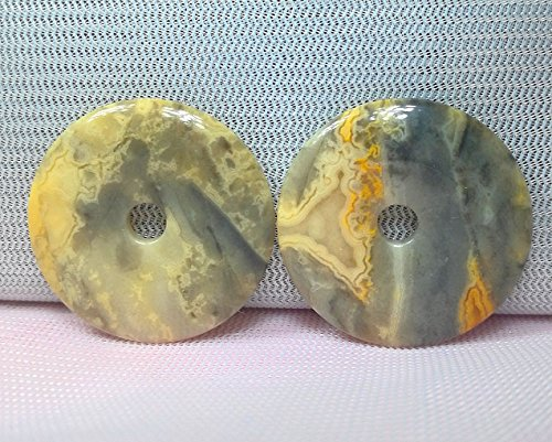 2 Pcs 1.2'' Natural Gemstone Crazy Lace Agate Donut Jewllery Pendant,DIY Accessory for Necklace 30mm (2 - Donut 30mm Pendant