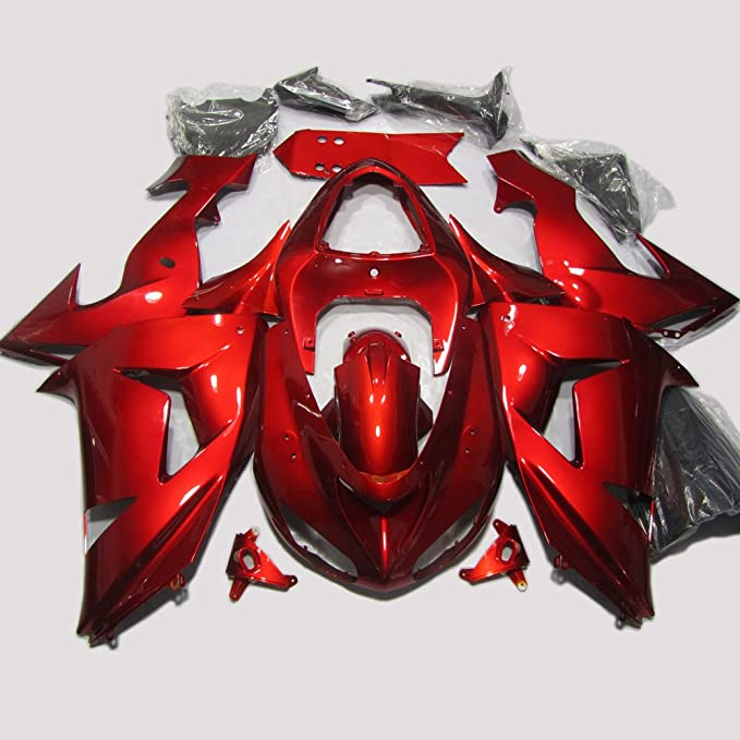 ABS Injection Molding - Deep Red Fairing Kit for Kawasaki Ninja ZX10R 2006 2007