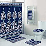 5 Piece Bath Rug Set, Arabic Floral Seamless Border Traditional Islamic Design Mosque decoration element. Print bathroom rugs shower curtain/rings and Both Towels