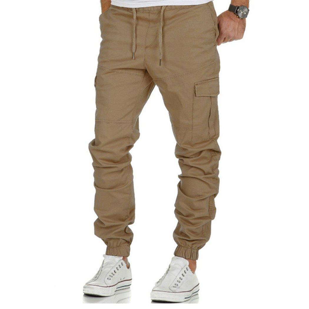 XWB Men's Multi-Pocket Cargo Pants Casual Jogger Pants Slim Fit Straight Leg Trousers XWB*2717005