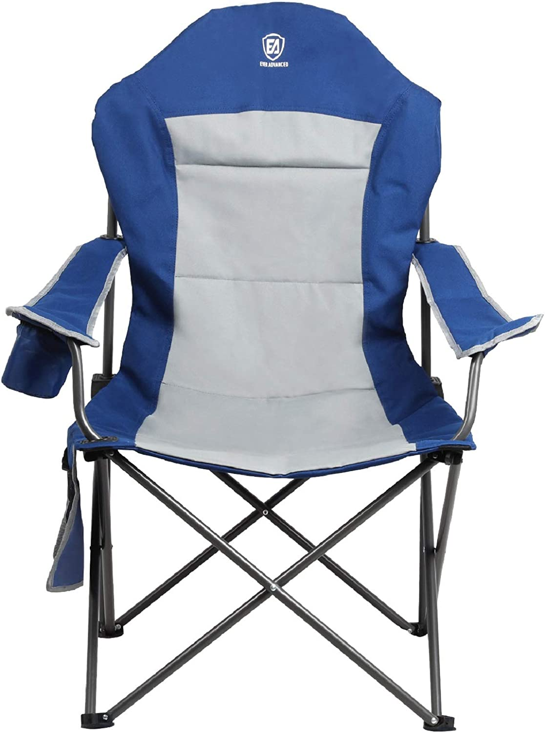 EVER ADVANCED Folding Camping Chairs, Oversize Portable Padded Camp Chair with Carry Bag, Heavy Duty Frame, Adjustable Armrest & Cup Holder for Outdoor, Hiking, Picnic, Support 300lbs