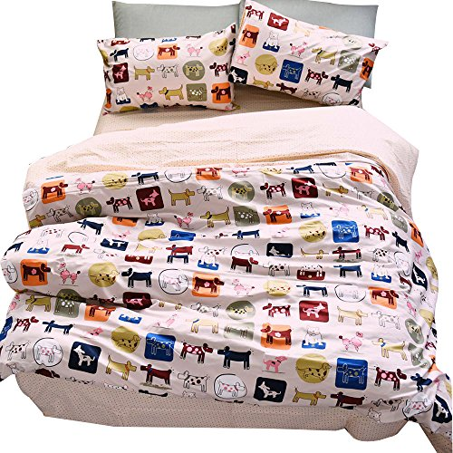 Dog Print Charming (OTOB Kids Puppy Dogs Print Duvet Cover Set Bed for Girls Boys Children Bedding Sets 100% Cotton Pink, 3 Piece Cartoon Bedding Collections with 1 Duvet Cover 2 Pillowcases(Full/Queen, Style 2))
