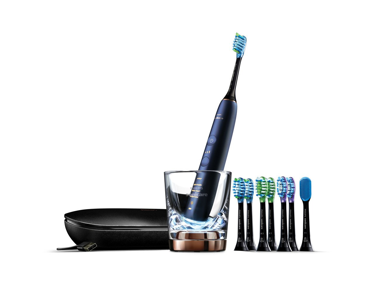 Philips Sonicare DiamondClean Smart Electric, Rechargeable toothbrush for Complete Oral Care, with Charging Travel Case, 5 modes, and 8 Brush Heads  – 9700 Series, Lunar Blue, HX9957/51