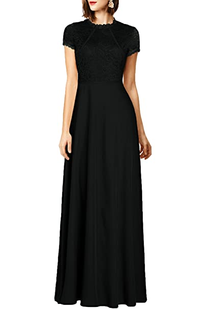 WOOSEA Womens Retro Floral Lace Wedding Maxi Bridesmaid Long Dress (Medium, Black)