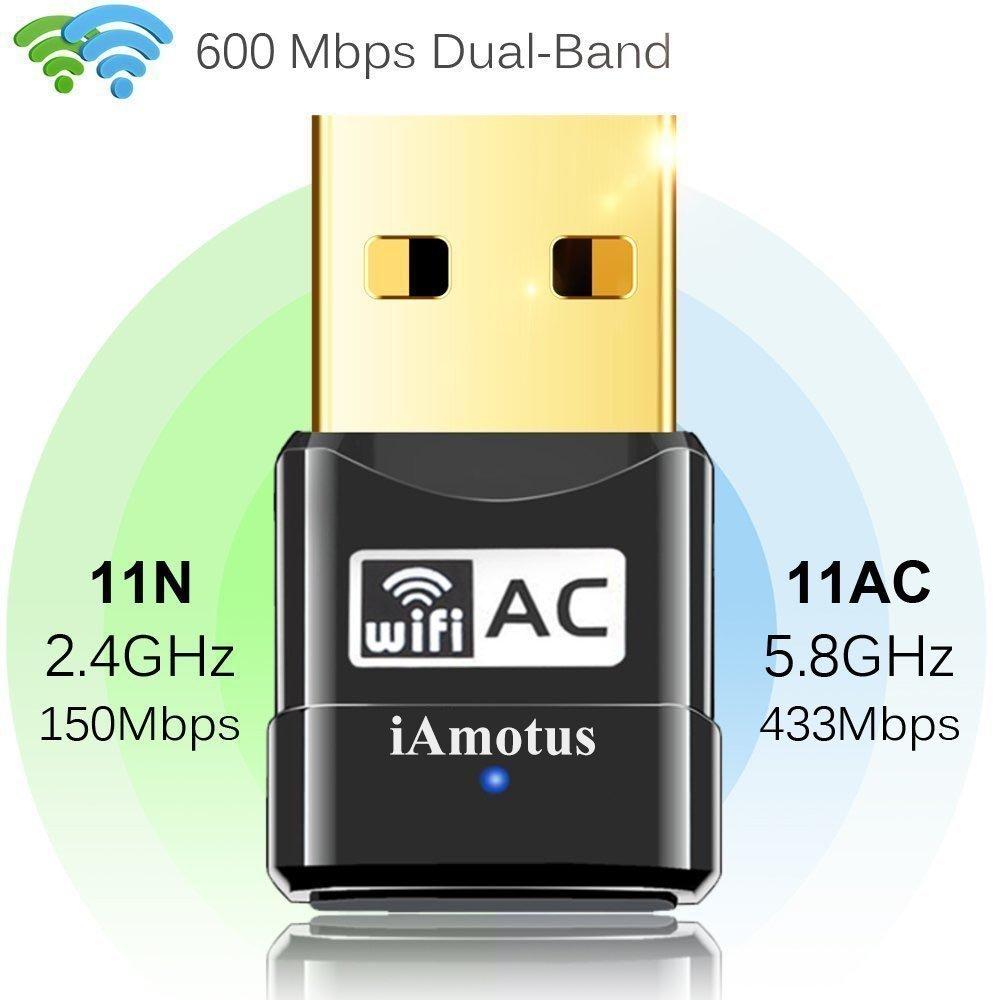 iAmotus Adaptador WIFI USB AC600 Dual Band Receptor WIFI 5GHz 433Mbps//2.4GHz 150Mbps Inal/ámbrico Dongle Mini WIFI USB Port/átil para PC Windows XP//Vista//7//8//10 32//64bits //Linux Mac OS X 10.7-10.11