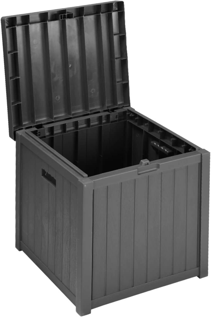 51 Gallon Patio Medium Deck Box Lightweight Outdoor Stroage Box Weather ResistantGarden Stroage Container for Patio Furniture Cushions, Pillows, Garden Tools and Pool Toys