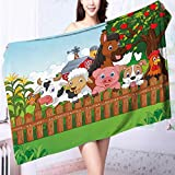 Made of 100% Premium Cotton Collection farm animals Lightweight, High Absorbency L63 x W31.2 INCH