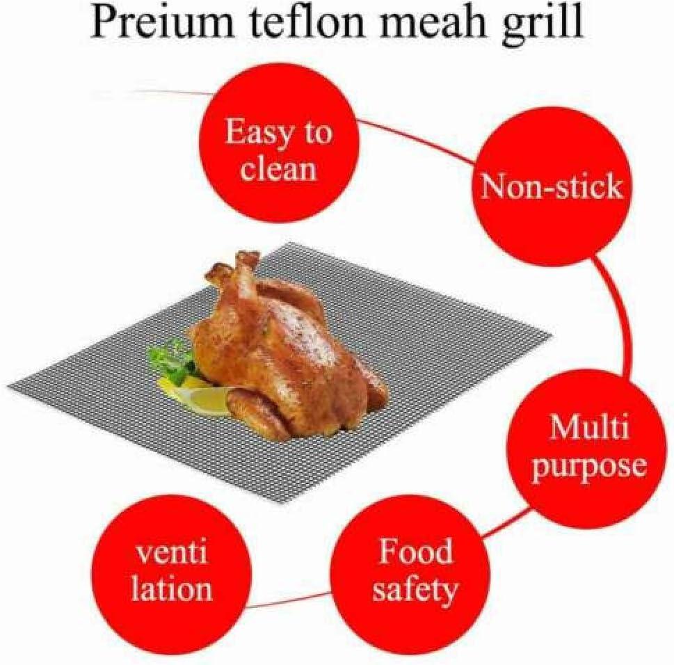 Aexit Tapis de Cuisson Tapis BBQ Barbecue Plaque Feuille de Cuisson Four pour Barbecue gaz Charbon électrique 100% Anti-adhérent BBQ Mat-3Pcs 5Pcs