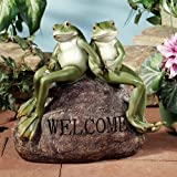 Touch of Class Frogs on Welcome Stone Accent Green