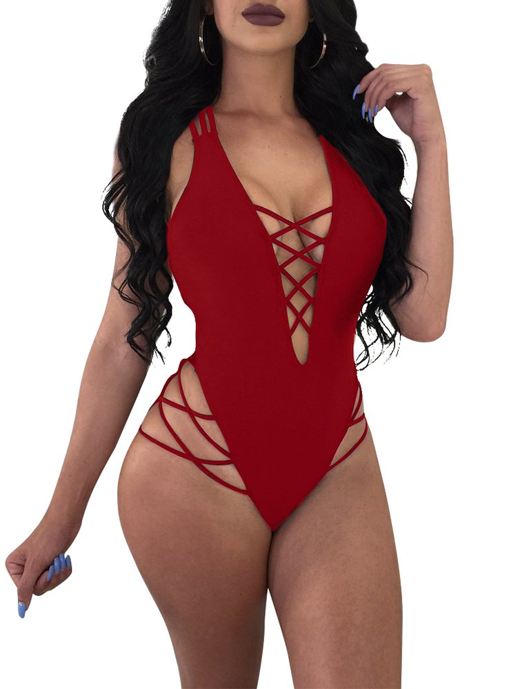 LAGSHIAN Womens Sexy One Piece Lace up Straps Swimsuit Bathing Suit Swimwear Black