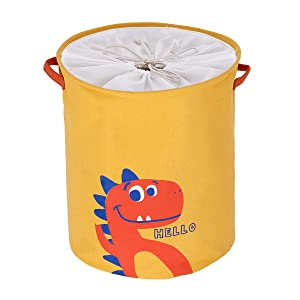 Ollieroo Large Dinosaur Laundry Hamper Toy Storage Bins with Handle and Lid Collapsible Storage Basket Bag Baby Nursery Boxes