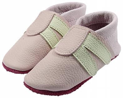 Mopu's® Krabbelschuhe - Lederpuschen im Turnschuhlook - Rosa mit weißen Streifen - handgemachte Markenqualität aus Deutschland 8k7de