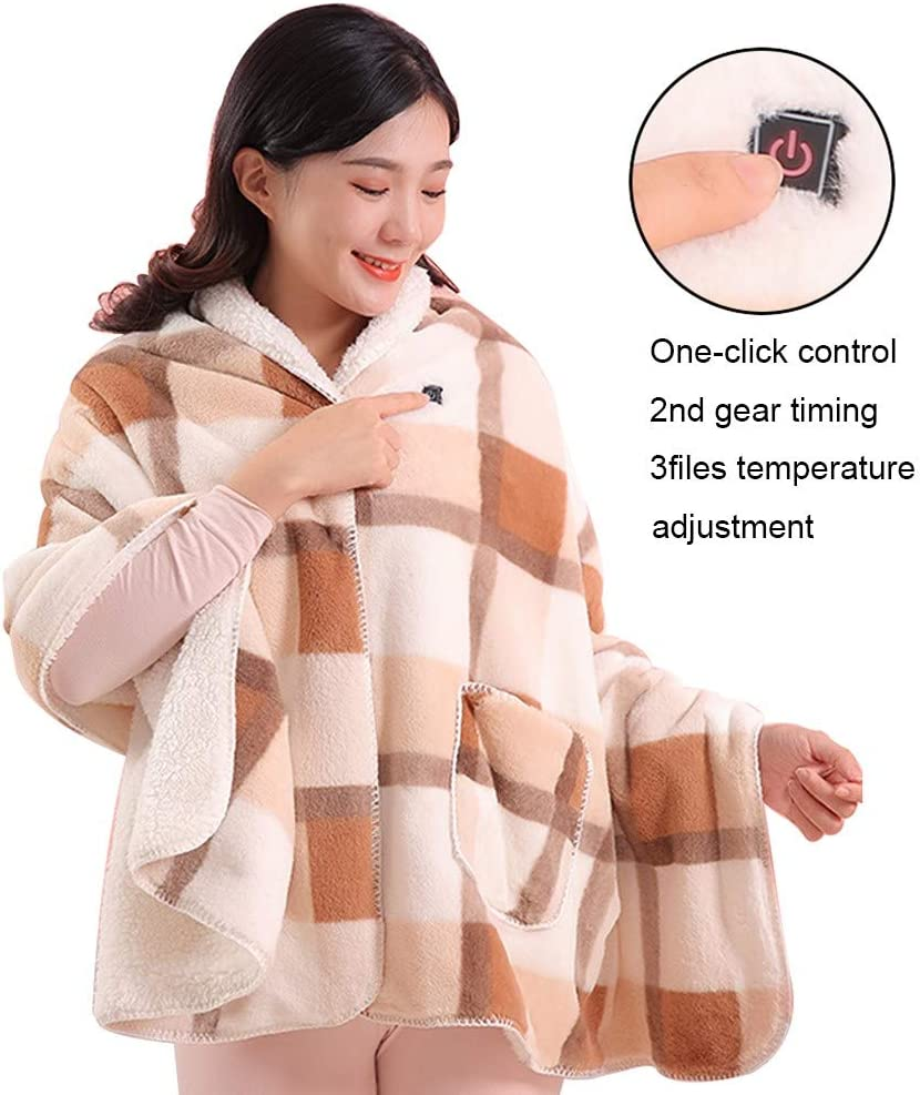 blanket Heated Shawl Battery Operated SUB Cordless Wrap for Women with Auto Shutoff Ultra, Electric Ultra Soft Throw Flannel Warm Cape, for Car Office Chair-Washable Christmas