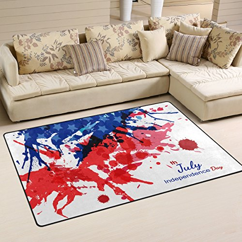 Happy 4Th Of July Patriotic Independence Day Playmat Floor Mat For Dining Room Living Room Bedroom,Size 2'7