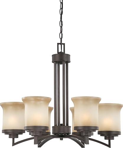 Nuvo Lighting 60 4125 Six Light Harmony Chandelier with Saffron Glass, Dark Chocolate Bronze