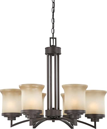 Nuvo Lighting 60 4125 Six Light Harmony Chandelier with Saffron Glass, Dark Chocolate Bronze
