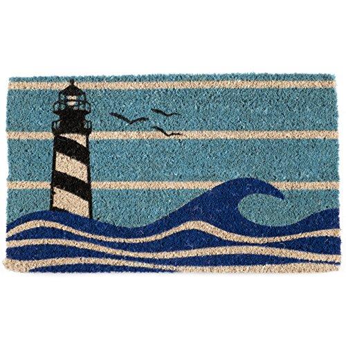 Lighthouse Door Mat (Entryways Lighthouse Handmade, Hand-Stenciled, All-Natural Coconut Fiber Coir Doormat 18