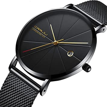 Luxury Watches for Men, DYTA Super Thin Business Watches with Stainless Steel Case Alloy Strap
