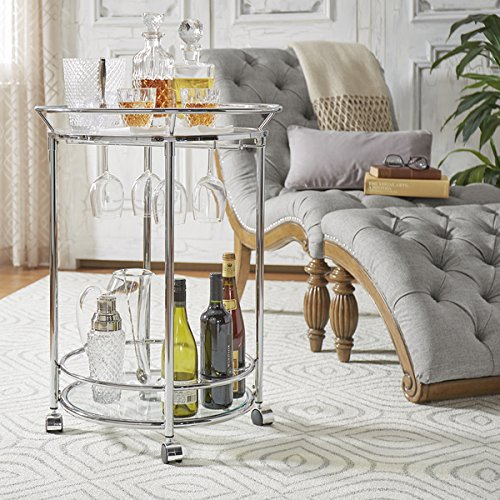 Metropolitan Round Chrome Metal Mobile Bar Cart with Glass Top by INSPIRE Q by Inspire Q