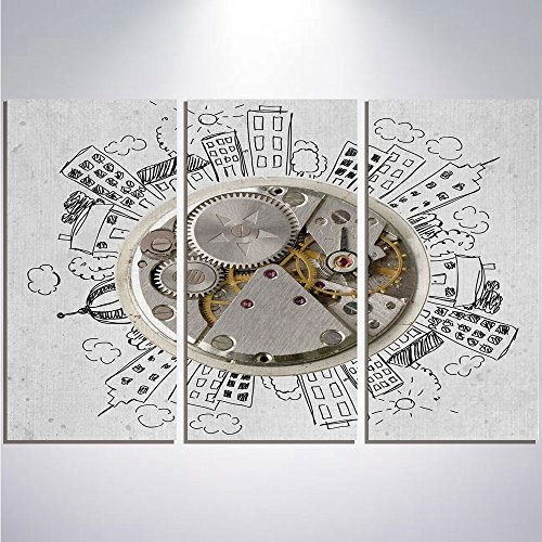 3 Pieces Modern Painting Canvas Prints Wall Art For Home Decoration Clock Decor Print On Canvas Giclee Artwork For Wall DecorAn Alarm Clock with Clouds and Buildings Around It Pattern Decorative Desig