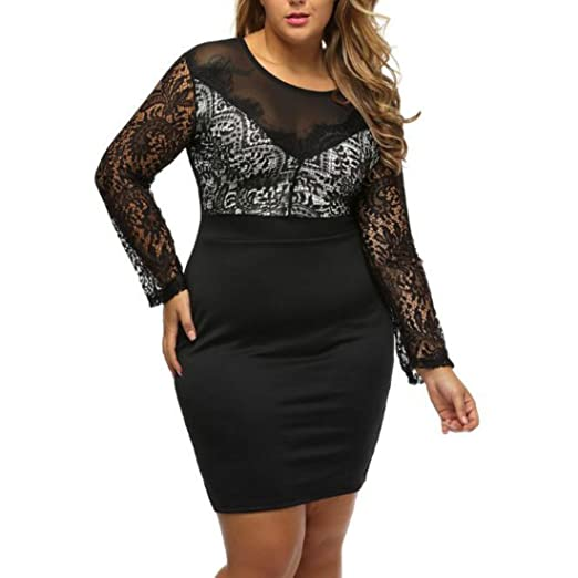 d88c64bffc Colygamala Women s Plus Size Lace Bodycon Dress Sexy Lace Short Pencil  Package Hip Dress 2018021501-