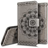 iPhone 6S Plus/6Plus Wallet Case, phezen Mandala Floral gofrado Piel Sintética 2en 1Wallet Flip Case Slim Back Cover titular de la tarjeta, Magnético y desmontable correa de muñeca para iPhone 6/6S Plus 14cm Negro, gris