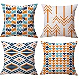 Modern Simple Geometric Style Cotton & Linen Burlap Square Throw Pillow Covers, 18 x 18 Inches, Set of 4 (Orange)