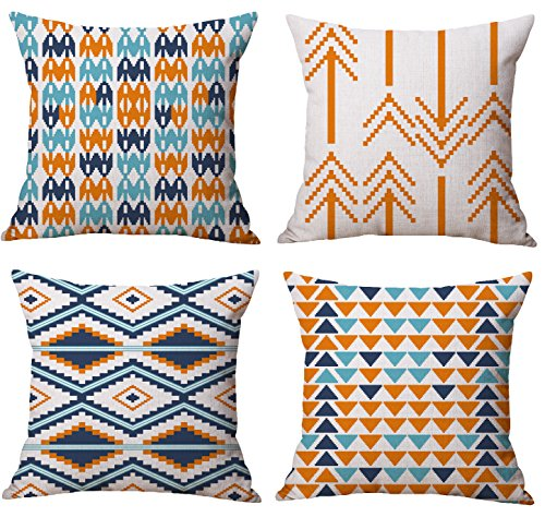BLUETTEK Modern Simple Geometric Style Cotton Linen Burlap Vibrant Orange Throw Pillow Covers, 18 x 18 Inches, Set of 4 (Orange) ()