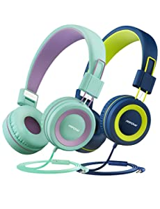 Mpow CH8 Kids Headphones (2-Pack), Foldable Wired Cord On-Ear Headsets, Safety Volume Limited, Comfortable and Durable Earphones w/Audio Splitter for Toddlers/Children/School/Travel/Plane/Boys/Girls