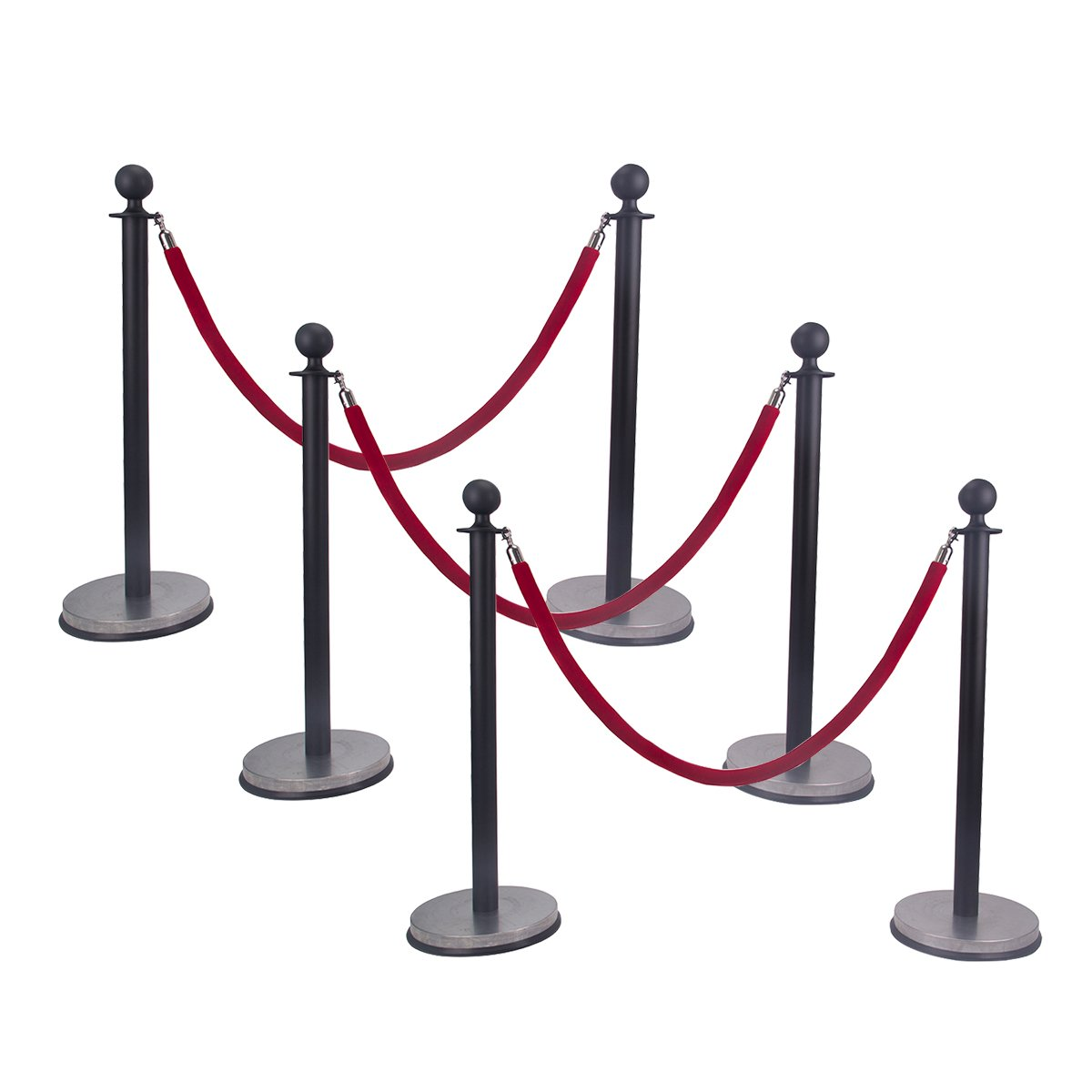 Ball Top Stainless Steel Retractable Stanchion Posts with a Red Velvet Rope Black (6)