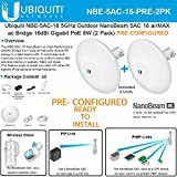 Ubiquiti NBE-5AC-16 PRECONFIGURED NanoBeam 5 ac Bridge 5GHz airMAX 16dBi (2PACK)