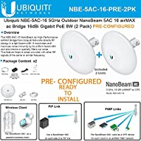 Ubiquiti NBE-5AC-16 PRECONFIGURED NanoBeam 5 ac Bridge 5GHz airMAX 16dBi (2PACK)