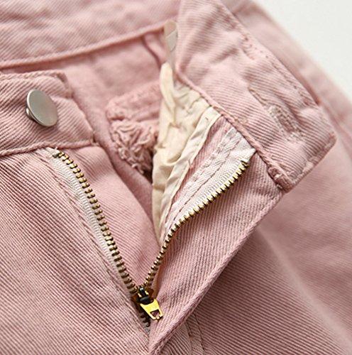 Denim Pink Solido di Donna di Semplice Estate Jeans Casual Pantaloni Dexinx Caldi Colore Shorts Usurato wA6qPwtT