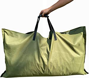 REPUBLICOOL Leaf Bag, Gardening Bag, Garden Tarp, Gardening Basket, Lawn Yard Waste Tarp, Container, Tote, Heavy Duty Military Canvas Fabric, Green