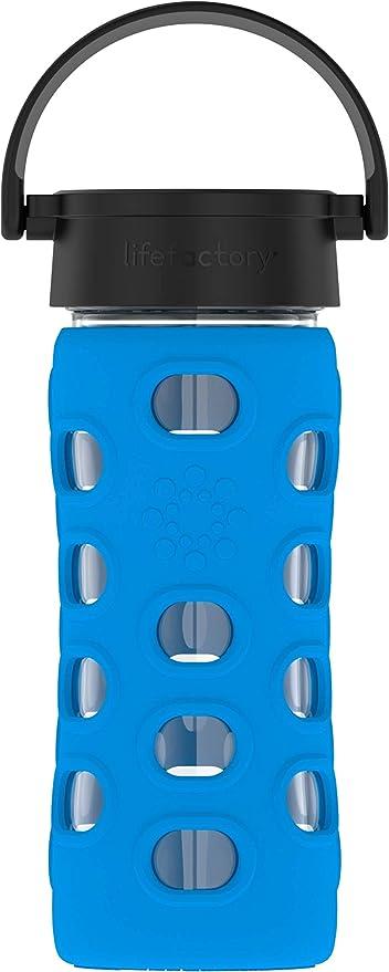 Botella de cristal con tapa clásica, color azul, de Lifefactory ...