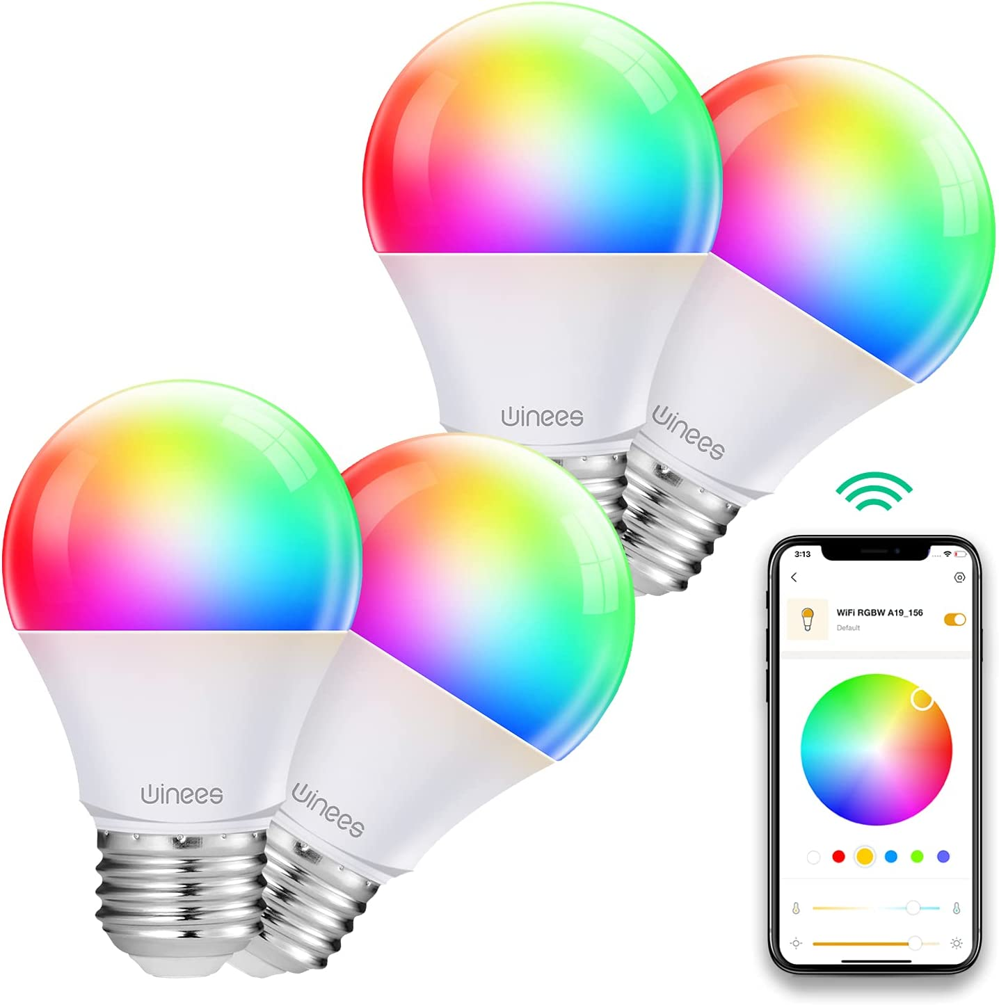Smart Light Bulbs Work with Alexa and Google Home, WINEES Dimmable Wi-Fi RGBW Smart LED Colour Changing Bulbs APP & Voice& Bluetooth Control, No Hub Required,9.5W 800Lm 4 Pack [Energy Class A+]