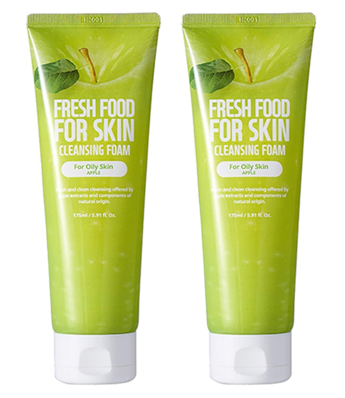 Face Foam Cleanser for Sensitive Dry Oily Normal Skin by Fresh Food for Skin (Apple(Oily Skin), 2pk)