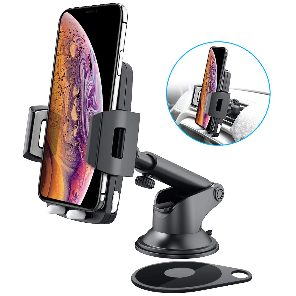 Dashboad Car Phone Holder, Baseus Quick Release Universal Cell Phone Holder for Car Dash Windshield Mount 360° Rotation for iPhone X, 8/8 Plus, 7/7 Plus, 6/6 Plus, Samsung Galaxy S9, S8, S7, S6, S5