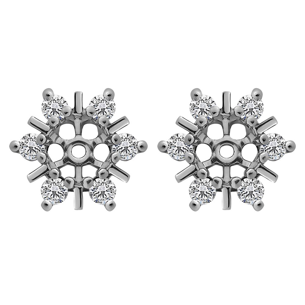 1/2 ct. Cubic Zirconia Round Cluster Stud Earring Jackets in Sterling Silver (0.48 ct. twt.)