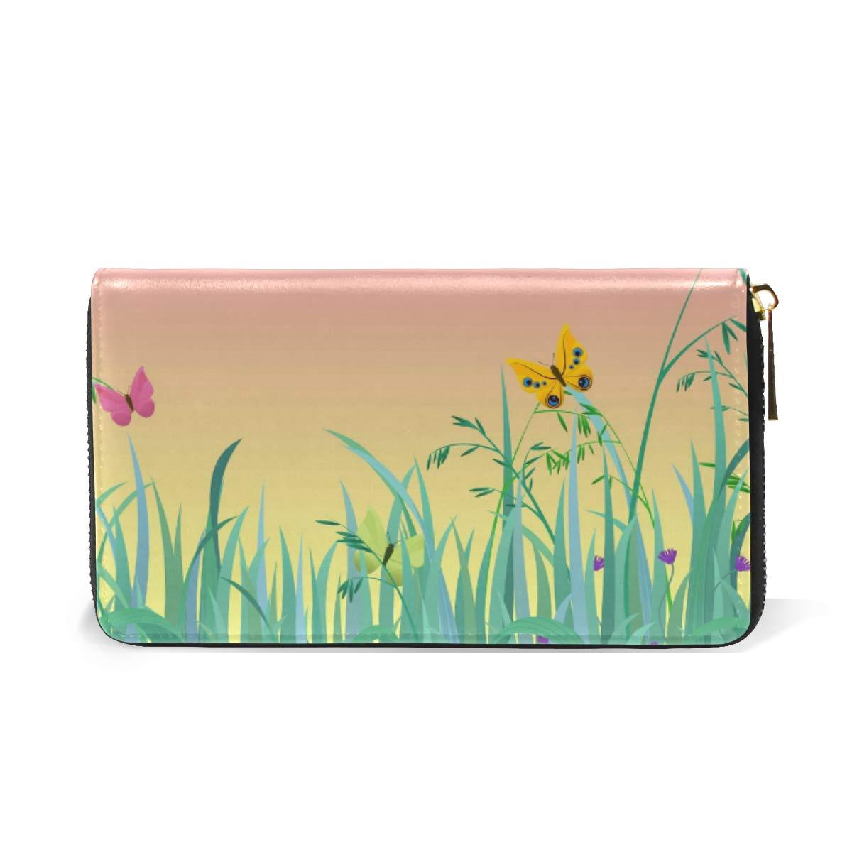 Women Wallet Coin Purse Phone Clutch Pouch Cash Bag,Sky Grass Female Girl Card Change Holder Organizer Storage Key Hold Elegant Handbag Gift