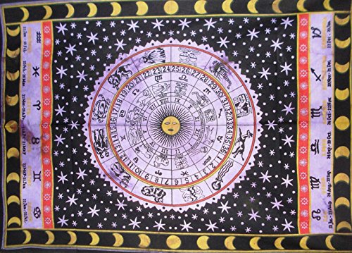 Traditional Jaipur Zodiac Sign Tapestry, Indian Poster, Astrological Wall Hanging, Bohemian Dorm Room Decorations, Hippie Wall Art Size 30